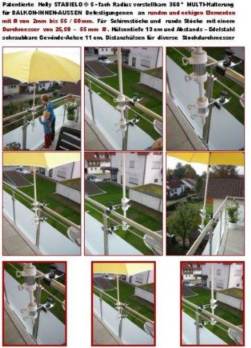 1 pièce – 360 ° Verticale ou horizontale anbringbare Bec breveté écrans balcon – Support pour stöckevon amovible léger 25 jusqu'à Ø 37 mm de Holly Stabielo avec 13 cm 15,24 x Douille et 11 cm longue distance de Axe pour filetage – Holly® produits Stabielo Holly-Sunshade® – Chez schirmen Bâtons jusqu'à Ø 55 mm 2 supports ou 2 TE Fixation utiliser pour des raisons de sécurité (serre-câbles)