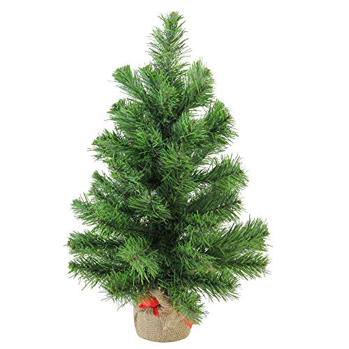 "Northlight Pine Artificial Christmas Tree in Burlap Base, 18"", Green"