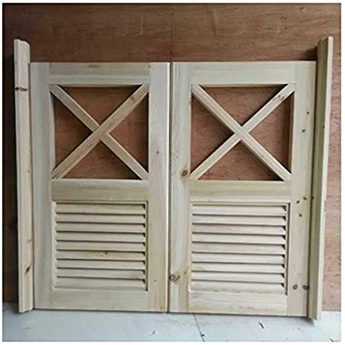 NL Swinging Doors Sliding Door Customizable Solid Wood Bartür Inner Separation Door Two Ways Open Unfinished, Easy to Clean Fencing Gates (Size : 9090cm)