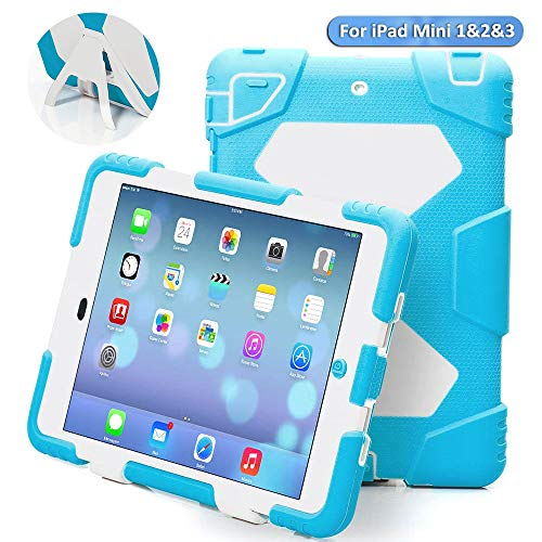 ACEGUARDER Ipad Case,Ipad Mini 2 Case,Ipad Mini 3 Case, ipad Mini case Case for Kids Rainproof Shockproof Anti-Dirt Drop Resistance Case (Light Blue/White)