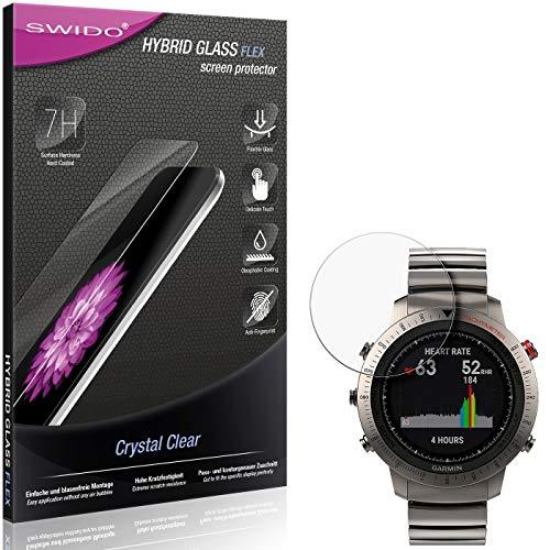 SWIDO Panzerglas Schutzfolie kompatibel mit Garmin Fenix Chronos Bildschirmschutz-Folie & Glas = biegsames HYBRIDGLAS, splitterfrei, Anti-Fingerprint KLAR - HD-Clear