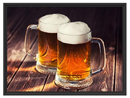 Picati Zwei Maßkrüge Bier im Schattenfugen Bilderrahmen | Format: 80x60 im Schattenfugen-Bilderrahmen | Kunstdruck auf hochwertigem Galeriekarton | hochwertige Leinwandbild Alternative