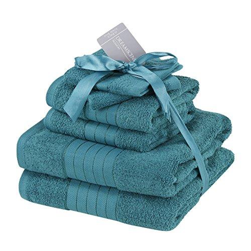 Brentfords Luxury Supersoft 6 Piece Hand Bath Towel Bale 100% Cotton, Teal Blue, 485 GSM