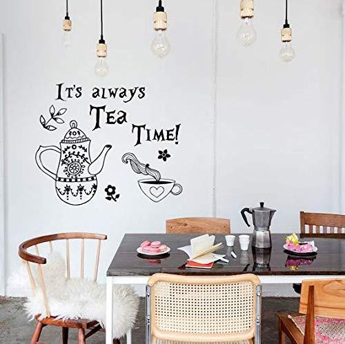 yaoxingfu Tee Zeit Zitat Wandtattoo Alice Im Wunderland Vinyl Wandaufkleber Wandtattoo Zitate Wandkunst Wandhauptdekorationen Ay 96x80 cm