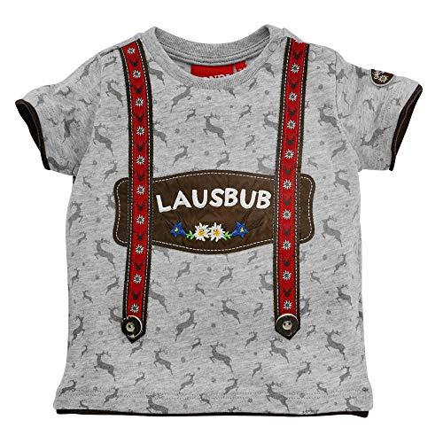 Baby-T-Shirt 'Lausbub' aus Baumwolle Gr. 92 I Schönes Jungen T-Shirt in Grau I T-Shirt für Babys, Kinder & Kleinkinder I Shirt aus Single-Jersey I Wunderschöne & Bequeme Kinderbekleidung
