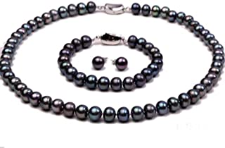 JYX Pearl Necklace Set 10-11mm Black Flate Round Freshwater Pearl Necklace and Bracelet Set (Necklace Bracelet and Earrings)
