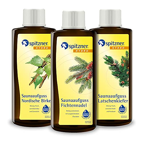 Spitzner Saunaaufguss-Set Waldduft 3 x 190 ml – Gesundheitsaufgüsse mit aromatischem Saunaduft nach Waldspaziergang mit Fichtennadel, Latschenkiefer und Nordischer Birke