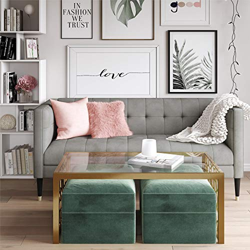 CosmoLiving Neptune Classic Chesterfield Couch Upholstered in Gray Velvet Fabric with Solid Wood Legs