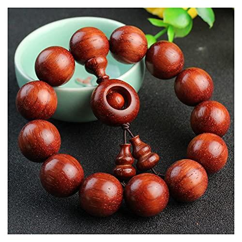 CHHNGPON Esposas Granos de Palisandro Rojo, Pulsera de sándalo Africano, Wood Wenwan y Joyas de Transferencia de Mujeres (Metal Color : 18mmx13)