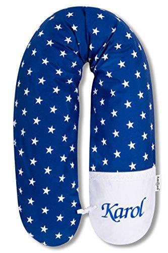 Amilian® STILLKISSEN MEGA WEICH Lagerungskissen Seitenschläferkissen ink.Bezug 170cm NEU XXL Sternchen blau mit Namen Datum