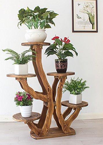 YXX- Stand de plantes en bois échelle échelle Rack 4 niveaux en plein air intérieur 5 Pots titulaire balcon debout en bois multi-couches étagère de rangement (Couleur : Brown-3)