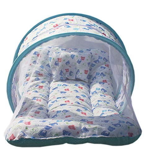 Nagar International Baby Bedding Set with Mosquito Net Cotton Mt-01 Blue New Born to 5 Months Baby