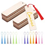 64 Marcapáginas de Madera en Blanco,32 marcadores de madera para manualidades y 32 borlas,etiquetas colgantes de madera de 12x3,2cm Marcadores de Libros con agujeros para manualidades