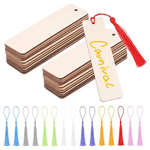 64 pezzi Segnalibri in Bianco in Legno Set,32 segnalibri artigianali in legno fai da te e 32 pezzi nappa,cartellini da appendere in legno 12x3.2cm Segnalibro vuoto rettangolare con fori