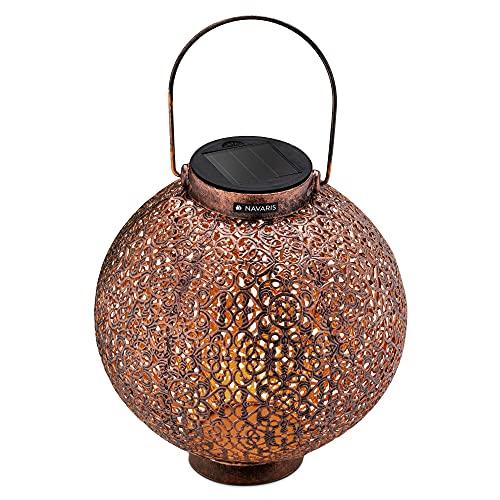 Navaris Metall LED Solarlaterne außen - mit Tragegriff - 21cm - cooler Schatteneffekt - Orientalische Garten Solar Laterne - Gartendeko Lampe Braun