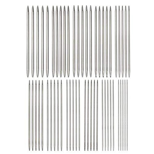 Lot de 55 aiguilles à tricoter droites à double pointe en acier inoxydable pour pull