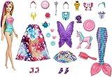 Barbie Calendrier de l'Avent Dreamtopia avec poupée blonde en maillot de bain dégradé et 23 accessoires surprises, jouet pour enfant, GYN36