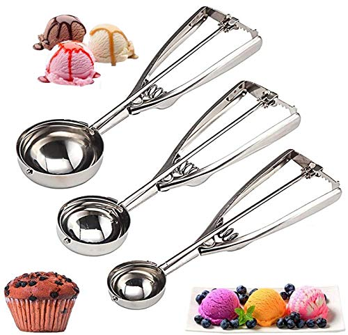 Cookie Scoop Set 3 PCS, with Trigger Large-Medium-Small Size for Kitchen Family Ice Cream Cookie Cupcake Muffin Meatbal multipurpose tainless Steel Ice Cream Scooper