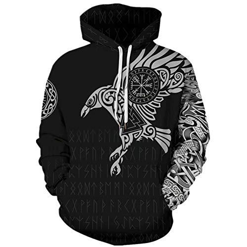 Tsyllyp Women Mens Viking Mythology Raven Runes 3D Print Hoodie Fashion Hooded Sweatshirt Tops Black