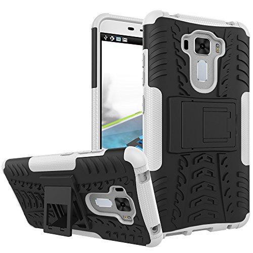 TiHen Handyhülle für Asus Zenfone 3 Laser ZC551KL Hülle, 360 Grad Ganzkörper Schutzhülle + Panzerglas Schutzfolie 2 Stück Stoßfest zhülle Handys Tasche Bumper Hülle Cover Skin mit Ständer -Weiß
