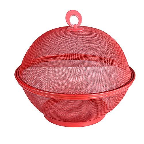 Soldmore7 - Frutero de hierro de alta densidad con tapa, para lavar verduras y frutas, No cero., rojo, Tamaño libre