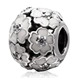 The Cherry Blossom Charm 925 Sterling Silver Flower Beads fit for DIY Charms Bracelets (White)
