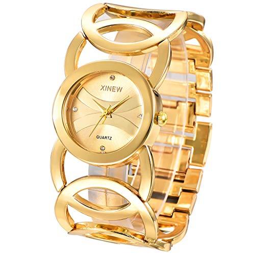GLEMFOX horloges dames kwartshorloges roestvrij stalen armbanden dames mode ronde horloges dames horloges met strass goud