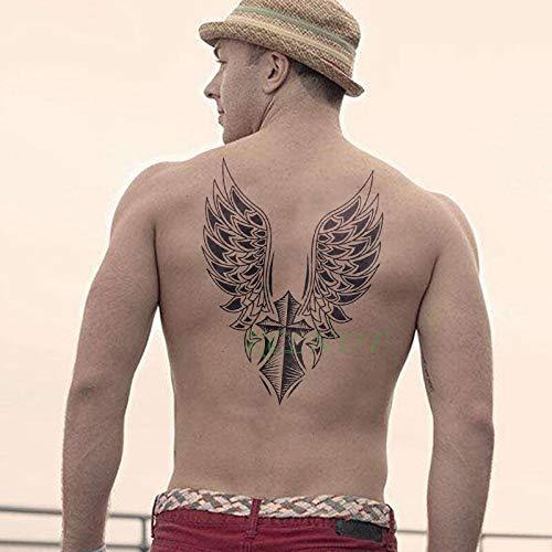 tzxdbh 3 Unids Impermeable Etiqueta Engomada del Tatuaje Temporal Cruz del ala del Ángel Entero Atrás Tatuajes Tatto Grandes para Mujeres Hombres Chica
