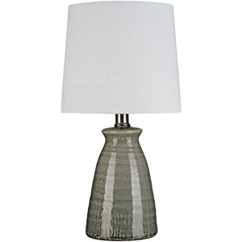 Amazon Brand – Stone & Beam Table Lamp with Textured Ceramic Base and LED Light Bulb - 15 Inch, Crackle Gray