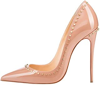 BalaMasa Womens Studded Beaded Solid Leather Pumps Shoes APL11344