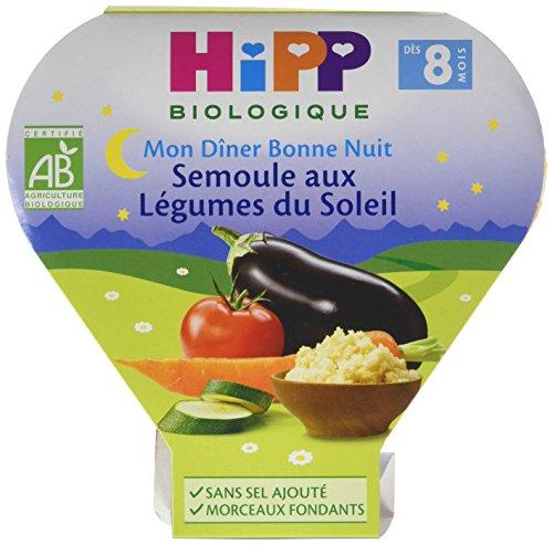 Hipp Biologique Mon Dîner Bonne Nuit Semoule aux Légumes du Soleil dès 8 mois - 7 assiettes de 200 g