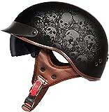 Certificación retro casco de la motocicleta de la vendimia medio casco de cara abierta DOT casco de la motocicleta Vespa Chopper piloto retro del motorista de la media cara Ciclismo Cascos crucero bic