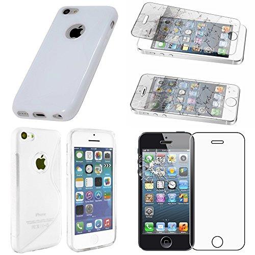 ebestStar - Funda Compatible con iPhone SE 5S 5 Carcasa Gel Silicona Gel TPU Motivo S-línea, S-Line Case Cover, Blanco + Cristal Templado Protector Pantalla [Aparato: 123.8 x 58.6 x 7.6mm, 4.0'']