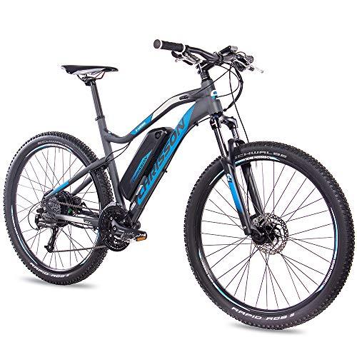 CHRISSON 27,5 inch E-Bike Mountainbike - E-Weger grijs blauw - elektrische fiets voor heren en dames - 27 versnellingen Shimano Altus derailleur - pedelec met Bafang achterwielmotor 250W, 45Nm
