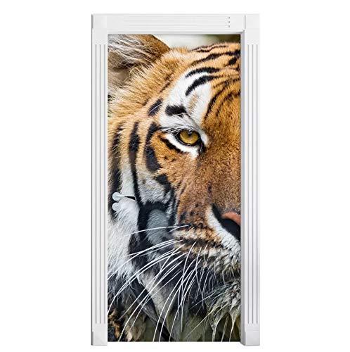 kasup Aufkleber auf klebende Tapete DIY Fierce Die Tür Selbst Tiger Druck Bild Wandkunst Home Decor Wandbild Garderobe Renovierung Aufkleber