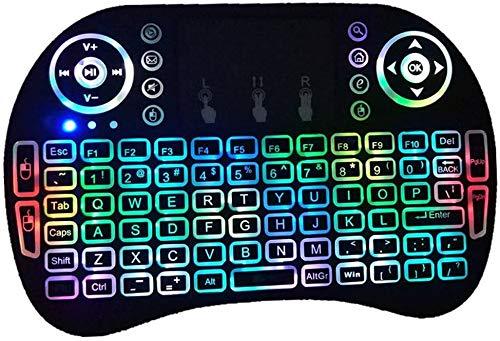 Hanyixue Achtergrondverlichting 2.4G Mini Wireless Keyboard Air Touch Touchpad voor Smart TV Box PC-toetsenbordverlichting Kleurrijk karper 2.4G ultradun draadloos toetsenbord Draadloze muismuis
