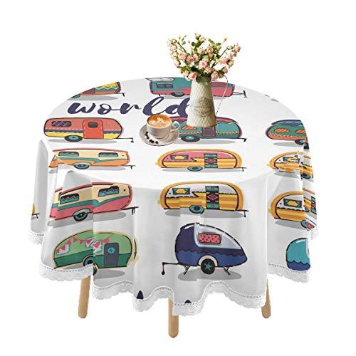 Mantel impermeable para mesas redondas, Off To See The World Happy Camper Card Manteles de encaje para mesa de comedor al aire libre, lavable, cocina, picnic, fiestas, día festivo, 152 cm