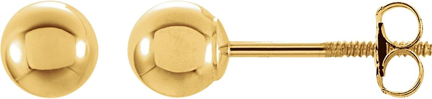 14k Yellow Gold 6mm Round Ball Earrings with Screw Post