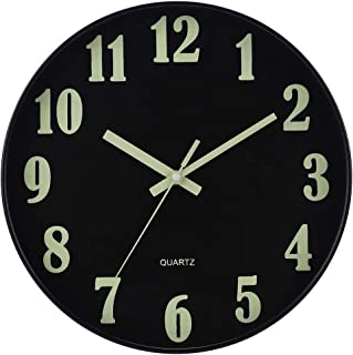 JoFomp Night Light Wall Clock, 12 Inch Silent Non-Ticking Wall Clocks, Large Luminous Function Numbers and Hands, Battery ...
