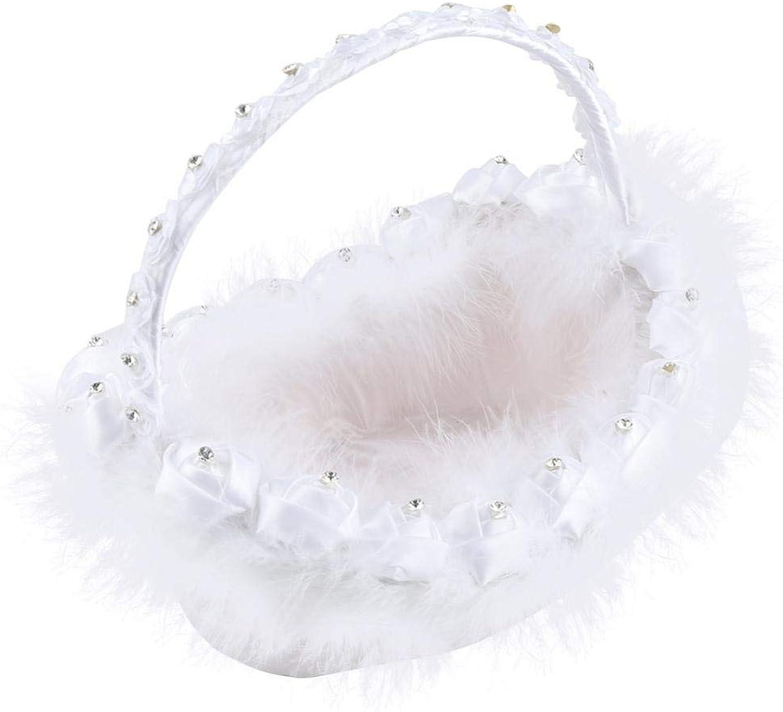 Flower Girl Basket Ribbon White Feather Decor Sweet Romantic Petal Satin Basket for Wedding Ceremony Party