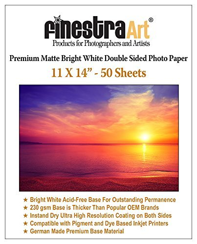 "11"" X 14"" Premium Matte Bright White Inkjet Double Sided Photo Paper - 50 Sheets"