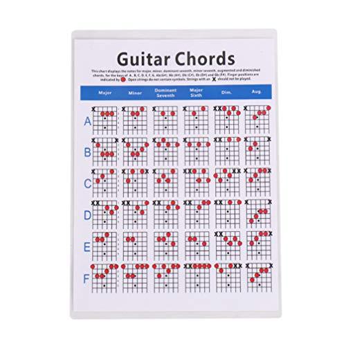 Artibetter Tabla de Acordes de Guitarra Póster de Referencia para Principiantes Tabla de Práctica de Acordes para Principiantes Amante de La Guitarra
