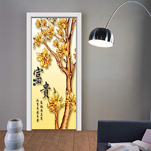 BXZGDJY 3D-deursticker, zelfklevend, boe Chinese tekst, 77 x 200 cm, oude boeken, bibliotheek, rek, boeken, antiek, kaarsen, rustiek behang, fotobehang, inclusief, deurbehang, zelfklevend