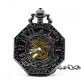WUXIAO Exquisite Taschenuhr: Taschenuhr, Polygon Hohl Retro Mechanische Kette Skelett Hand Wickelende Metall FOB Clock GESCHNEIDERENCOMMODITY Code: LXJ - 16 (Color : Black)