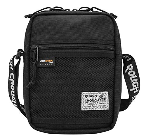 Rough Enough Small Shoulder Crossbody Bag Fanny Pack for Men Women Over Cell Phone Bag with Cordura for Travel Outdoor Cycling School Camping Fishing with Zipper Pocket Shoulder Strap Cool Off in