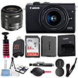 Canon EOS M200 Mirrorless Digital Camera 24.1MP Sensor w/EF-M 15-45mm f/3.5-6.3 is STM Lens + SanDisk 64GB Memory Card + Spider Tripod + Accessory Bundle (Black) (64GB)