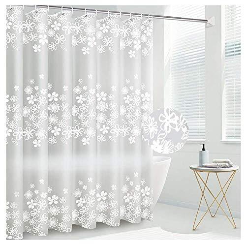 SEVEN HITECH Duschvorhang mit 12 Haken, Badezimmer-Vorhang, Anti-Schimmel, wasserdicht, Polyestergewebe, schimmelresistent, Duschvorhang für Badezimmer, 180 x 180 cm (71 x 71 Zoll) (Schneeflocke)