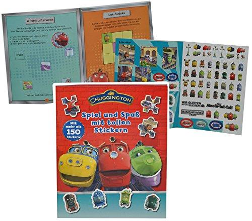 alles-meine.de GmbH Rätsel Buch / Sticker + Bastelheft mit 150 Sticker + Rätsel - Chuggington Eisenbahn + Züge - zum Malen und Spielen - Tiere - Aufkleber für Jungen Lok Zug Stic..