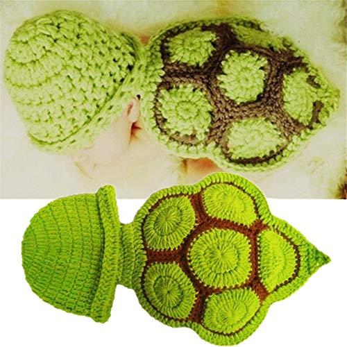 Ouuager-Home Conjuntos de Accesorios de fotografía para bebés Fotografía Ropa suéter Hecho a Mano de Lana de Tejer la Foto del bebé Traje Traje Pequeña Tortuga (Color : Green, Size : One Size)