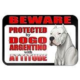 Vivityobert Señal de Metal para Propiedad privada, con Texto en inglés Beware Protected by Dogo Argentino with Attitude Warning, 8 x 12 Pulgadas